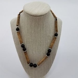Jewelry - Necklace beaded wood brown ethnic tribal african s